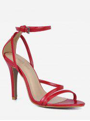 PU Leather Cut Stiletto Heel Sandals -