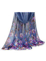 Printed Rose Feather Long Scarf -