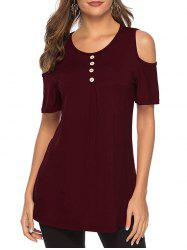 Cold Shoulder Button Short Sleeve Tee -