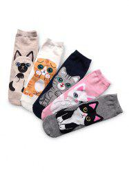 5Pairs Pattern Cat Quarter Length Socks -