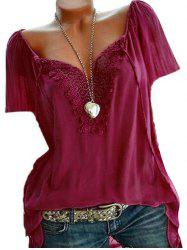 Plus Size Lace Panel Blouse -