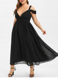 Plus Size Open Shoulder Midi Party Dress -