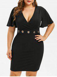 Plus Size Bell Sleeve Lace Panel Dress -