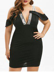 Plus Size Cold Shoulder Sequined Bodycon Dress -