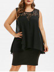Plus Size Tiered Lace Panel Bodycon Dress -