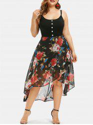 Floral Overlay High Low Plus Size Dress -