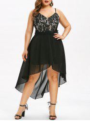 Plus Size Leaves Lace High Low Midi Party Dress -