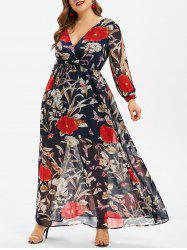 Floral Print Overlay Plus Size Maxi Dress -