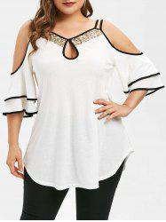 Plus Size Keyhole Open Shoulder Sequins T-shirt -