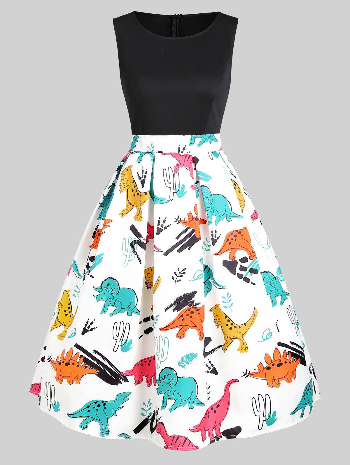 Online Dinosaur Print Sleeveless A Line Dress