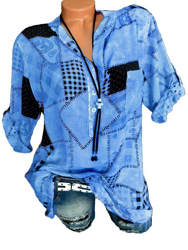 Image of Half Button Checked Print Blouse
