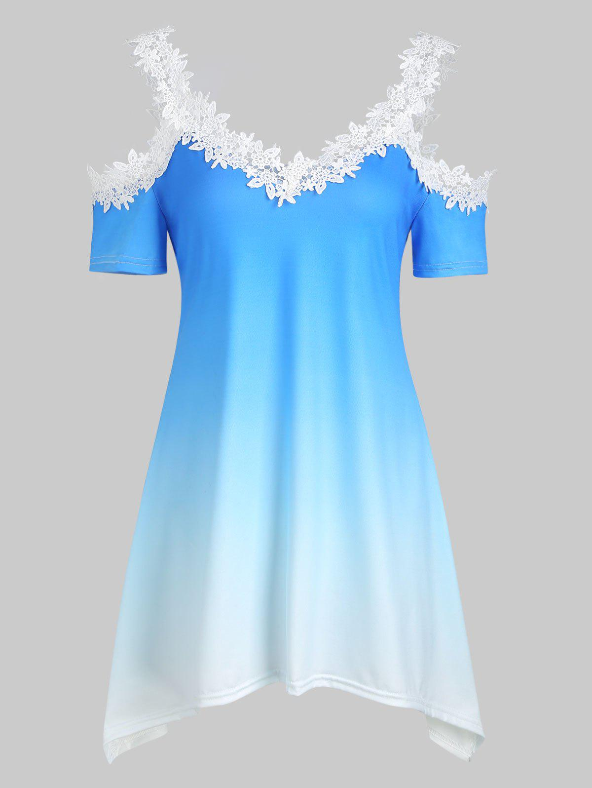 Buy Ombre Applique Cold Shoulder Tee