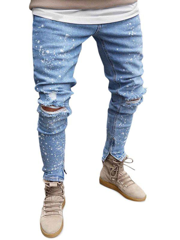 Trendy Splatter Printed Casual Ripped Jeans