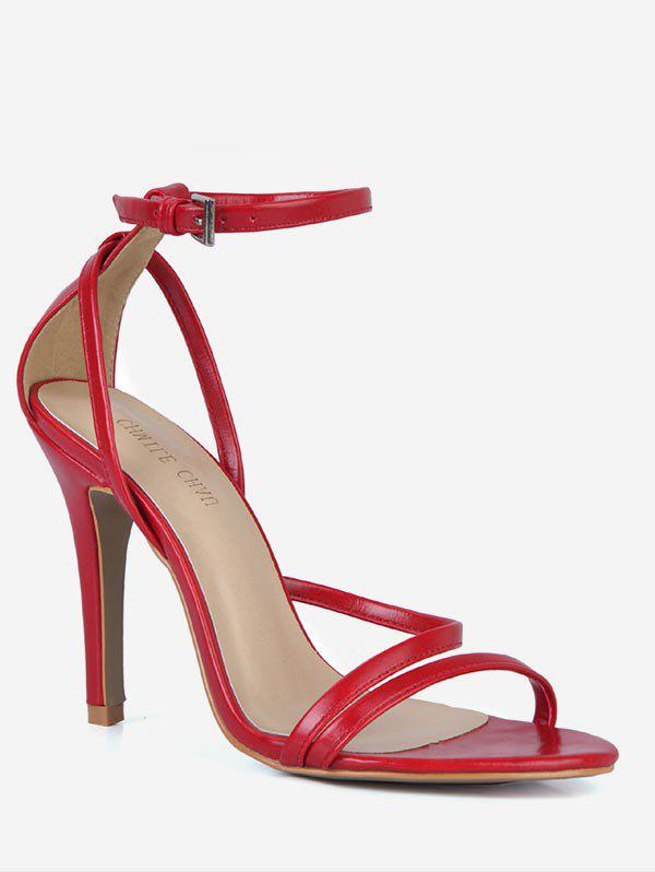 Shop PU Leather Cut Stiletto Heel Sandals