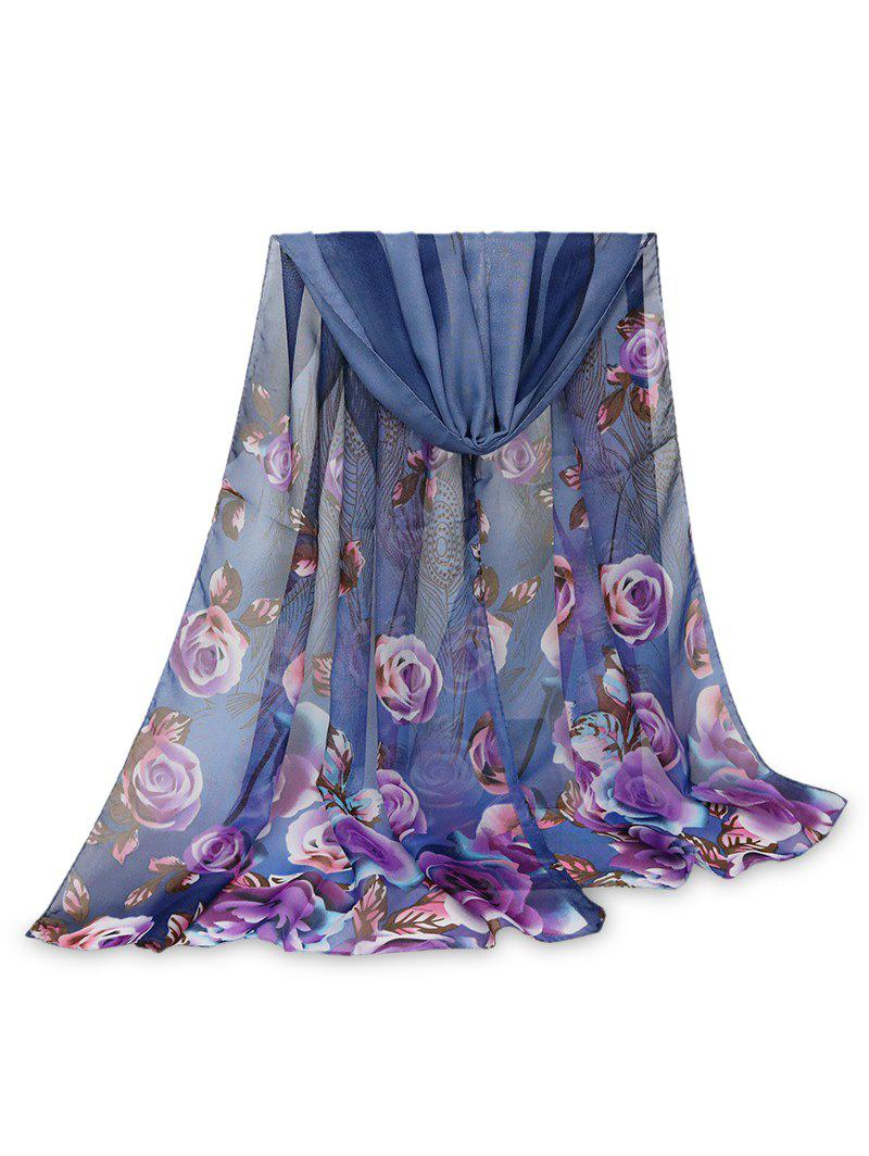 Outfits Printed Rose Feather Long Scarf