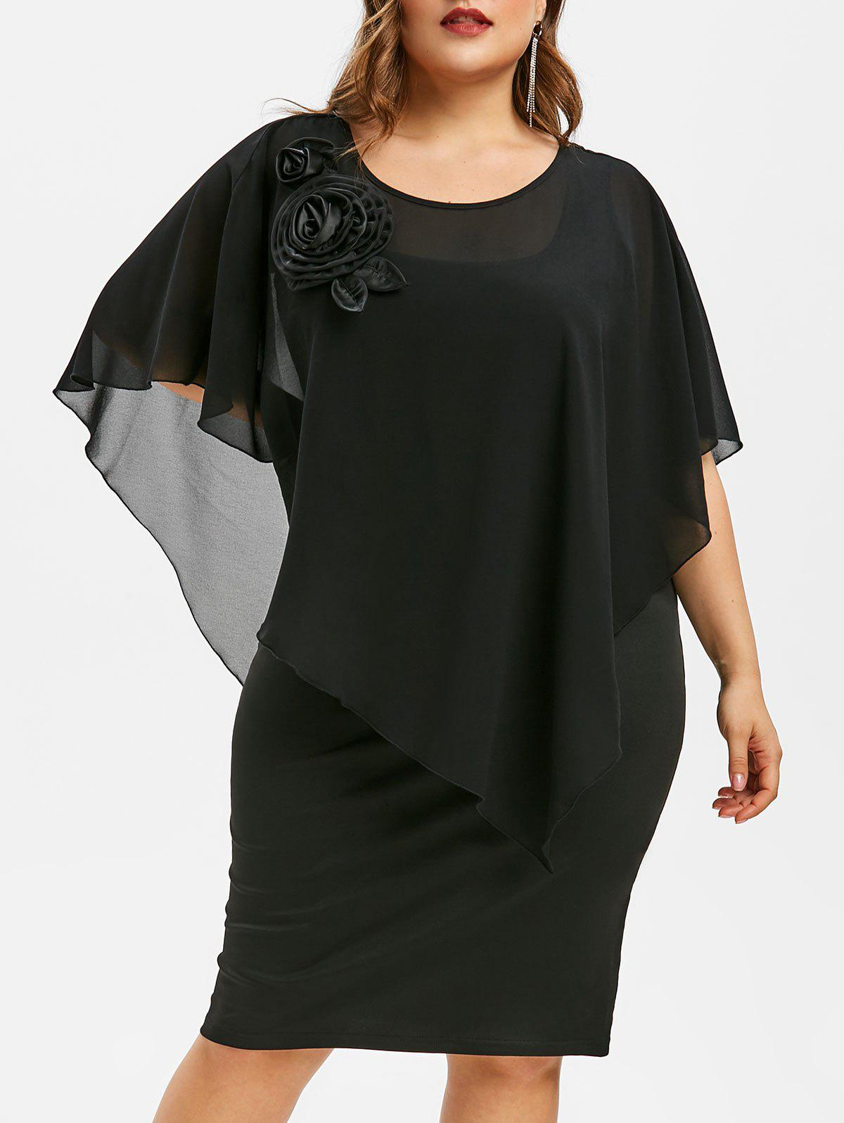 Affordable Plus Size Butterfly Sleeve Tiered Dress