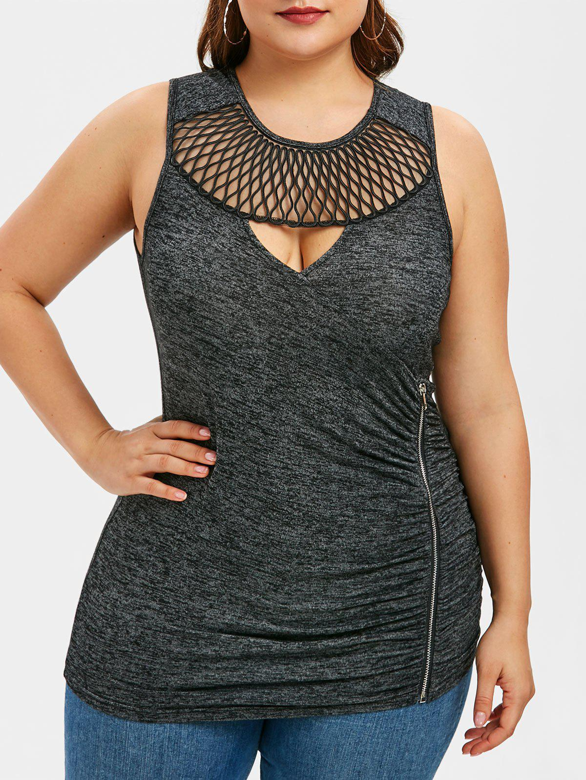 Chic Cut Out Ruched Zipper Plus Size Tank Top