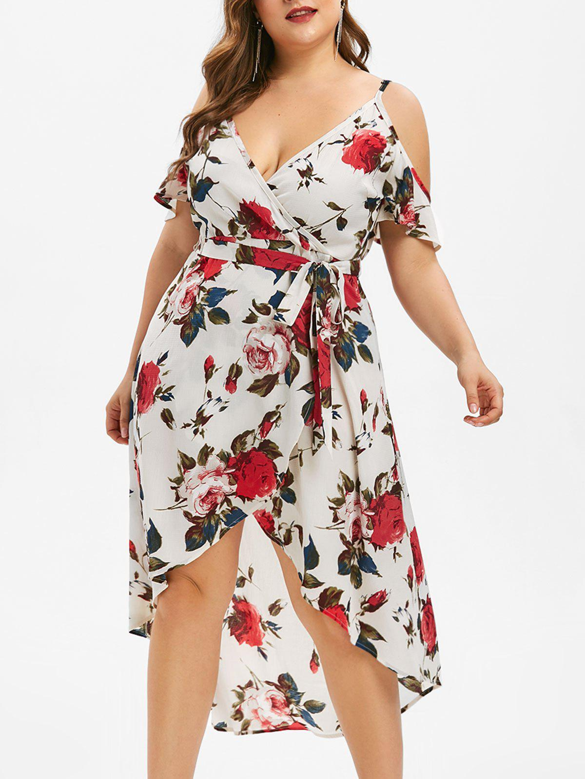 Shops Plus Size Floral High Low Open Shoulder Dress