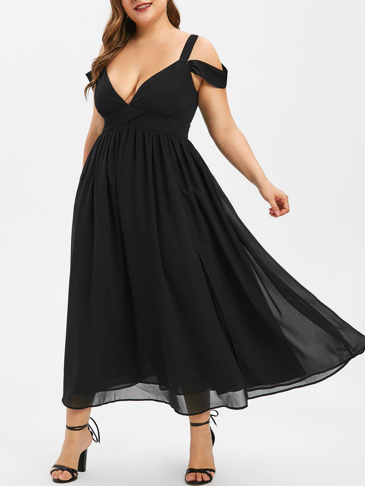Unique Plus Size Open Shoulder Midi Party Dress