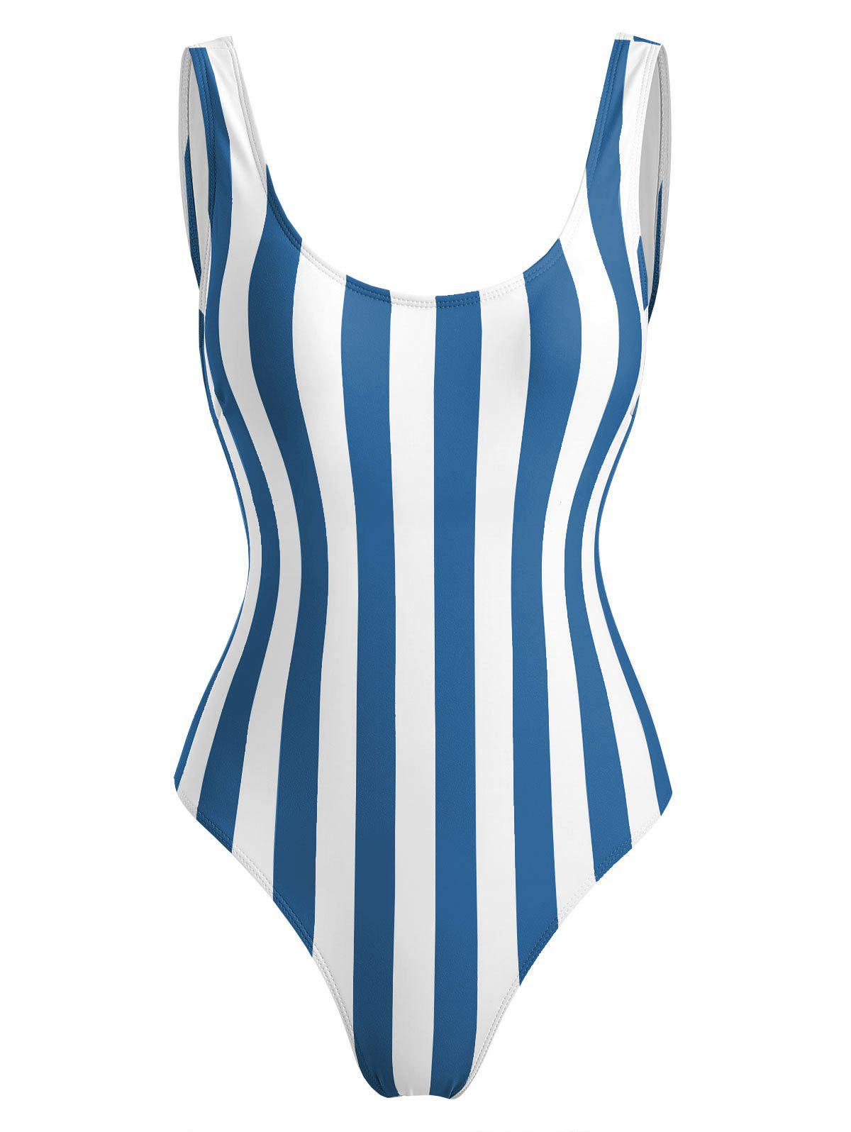 Stripe High Cut One-piece Swimwear