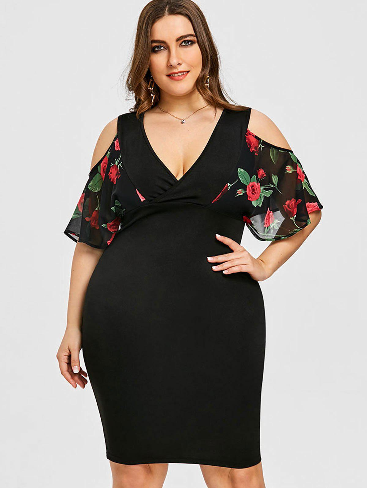48% OFF] Cold Shoulder Floral Print Plus Size Bodycon Dress | Rosegal