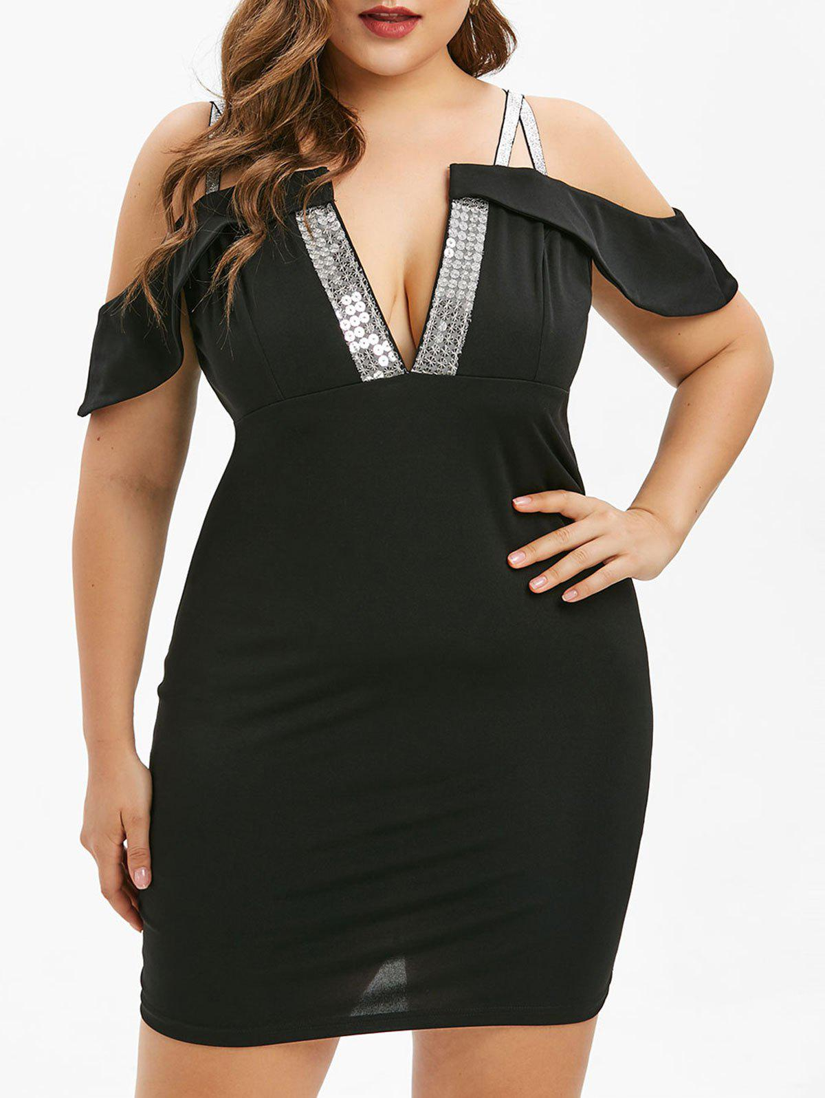 Hot Plus Size Cold Shoulder Sequined Bodycon Dress
