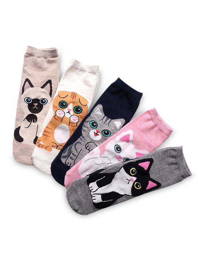 Cheap 5Pairs Pattern Cat Quarter Length Socks