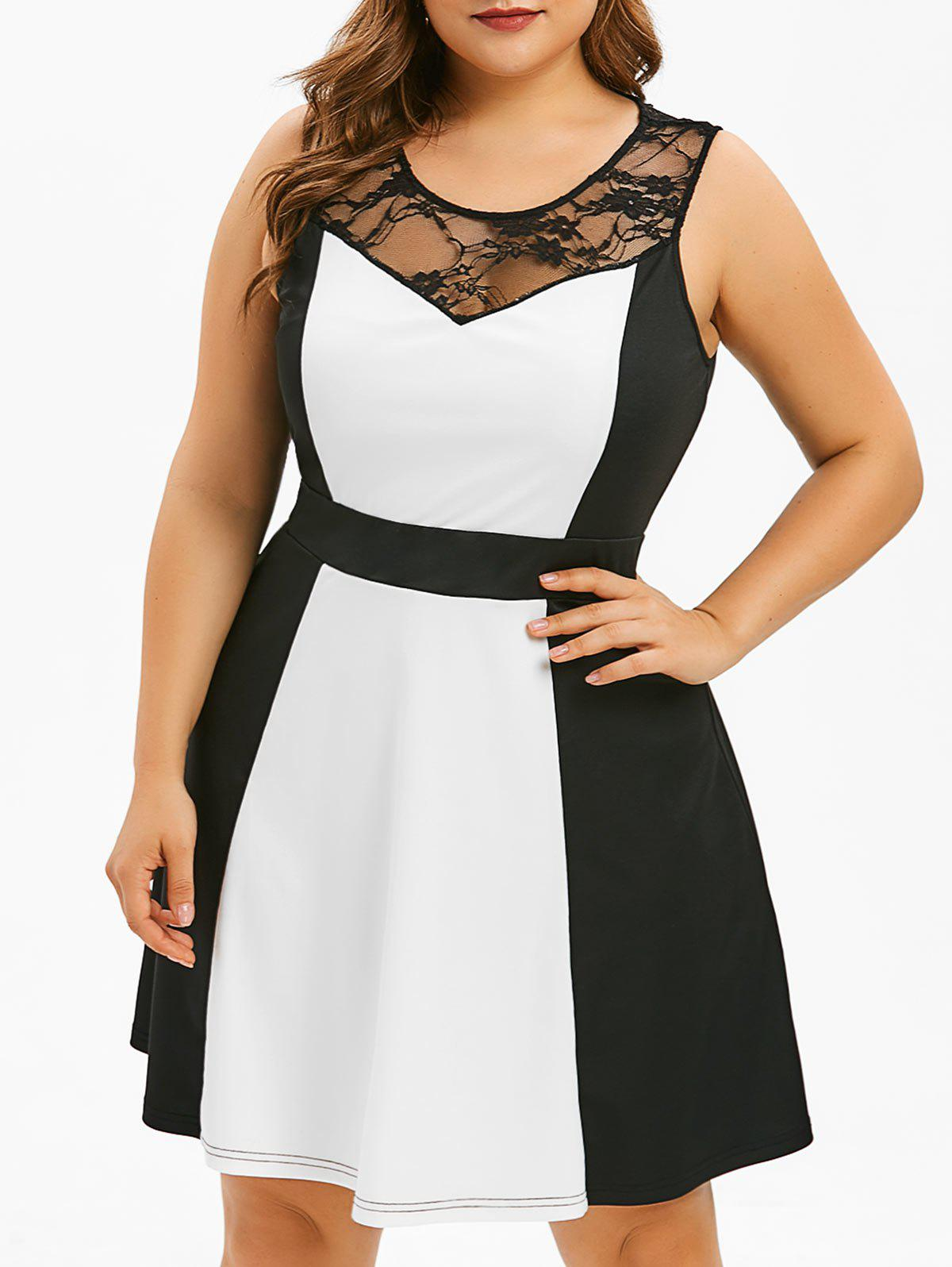 Chic Plus Size Lace Panel Two Tone Dress