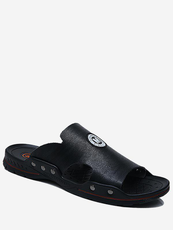 Online Faux Leather Cut Beach Slides