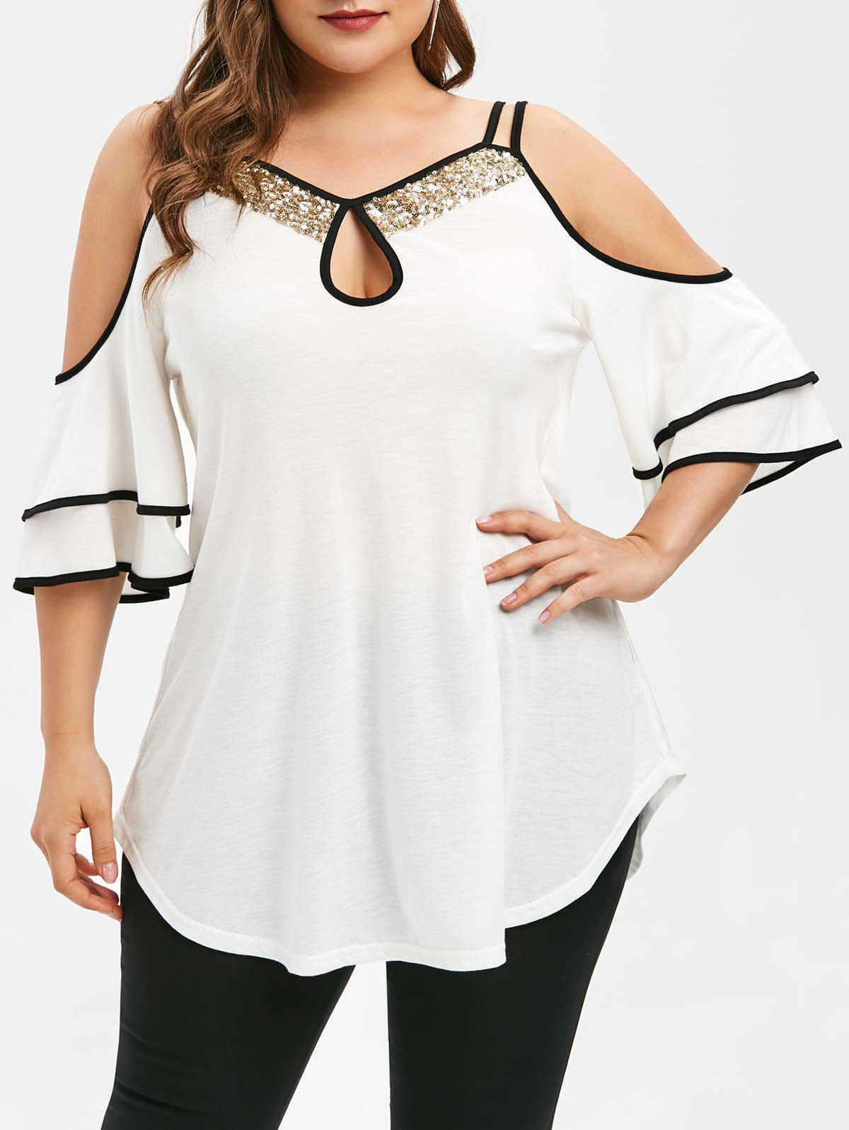 Shop Plus Size Keyhole Open Shoulder Sequins T-shirt