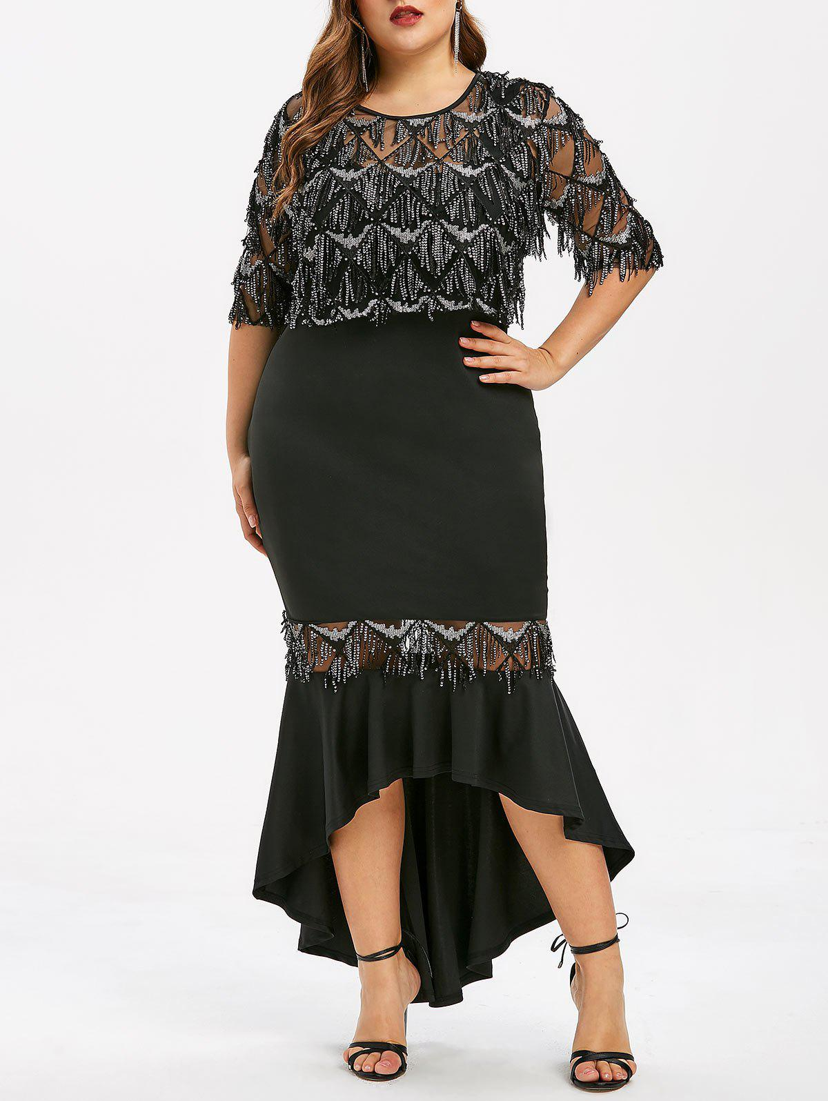 f60ecd0f02e69 Outfits Plus Size Sheer Fringe Mermaid Dress