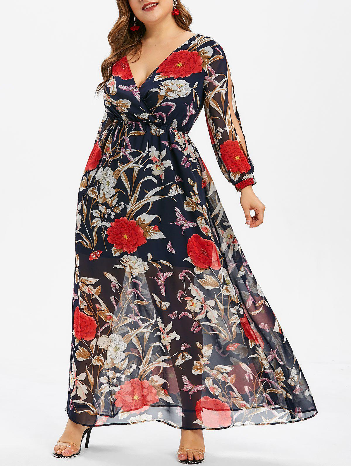 Sale Floral Print Overlay Plus Size Maxi Dress