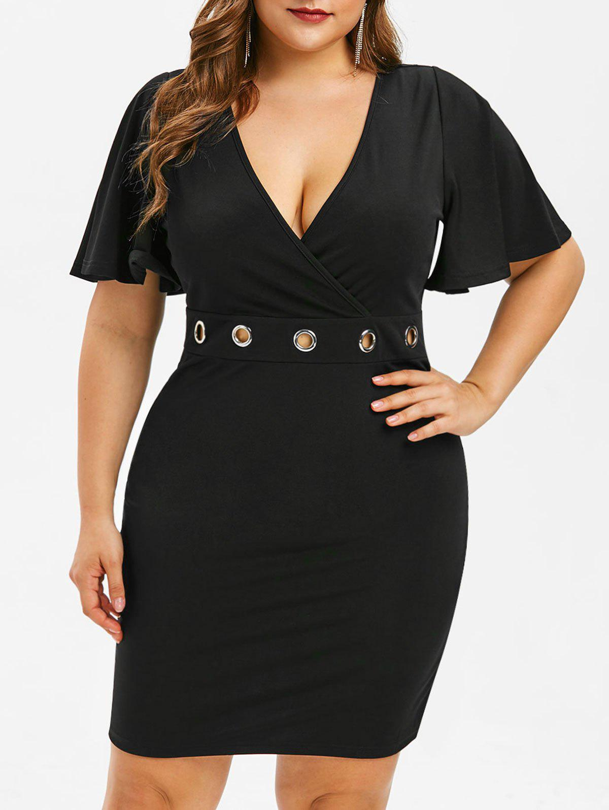 Store Plus Size Bell Sleeve Lace Panel Dress