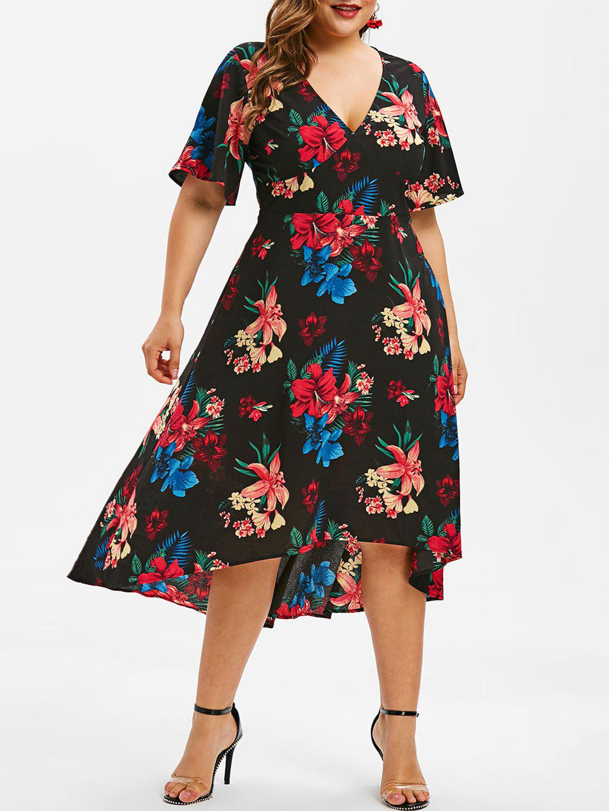 Affordable Plus Size Floral Maxi High Low Dress