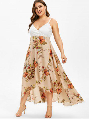 e59d09a6fec Floral Print Plus Size Overlap Slip Dress