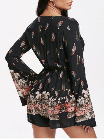 55349fc71d45 Feather Print Bell Sleeve Romper