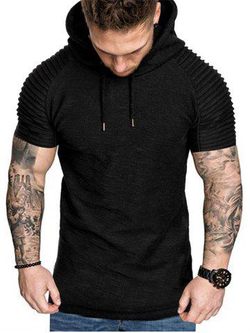 Hooded Ruched Sleeve T-shirt - M