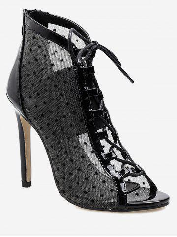 Mesh Lace Up Peep Toe Boot