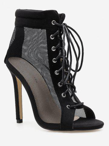 Peep Toe Lace Up Mesh Boots