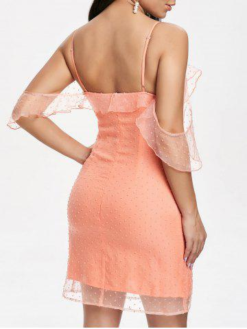 Ruffle Dotted Cold Shoulder Organza Dress