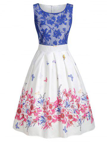 Lace Panel Butterfly Print A Line Dress