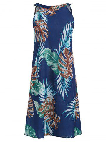 Sleeveless Tropical Leaf Print Dress