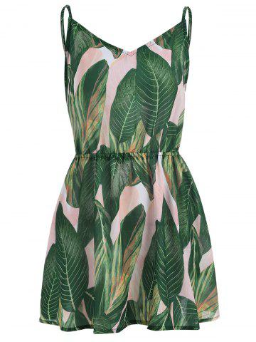Spaghetti Strap Tropical Print Flare Dress