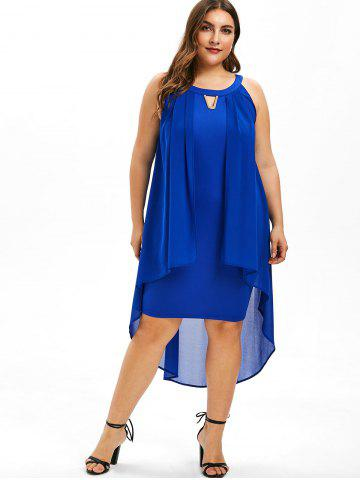 Round Neck Plus Size Overlay Shift Dress