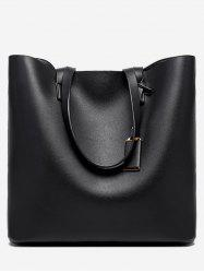 Leather Simple Solid Square Tote -