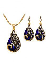 Faux Crystal Peacock Jewelry Set -