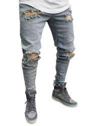 Zipper Decoration Ripped Jeans -