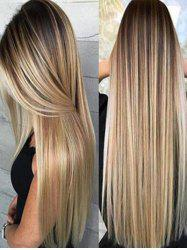 Synthetic Long Straight Hair Ombre Heat Resistant Full Wigs -