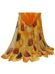 Sunflower Pattern Print Long Large Scarf -