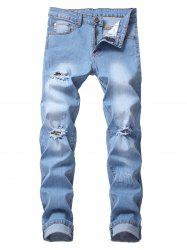 Casual Style Ripped Flanging Jeans -